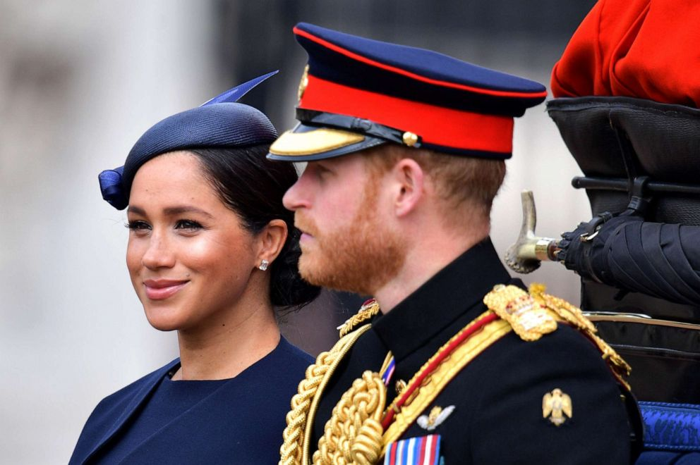 PHOTO: Meghan, Duchess of Sussex and Prince Harry, Duke of Sussex make their way in a horse drawn carriage to Horseguards parade ahead of the Queens Birthday Parade, Trooping the Colour, in London, June 8, 2019.