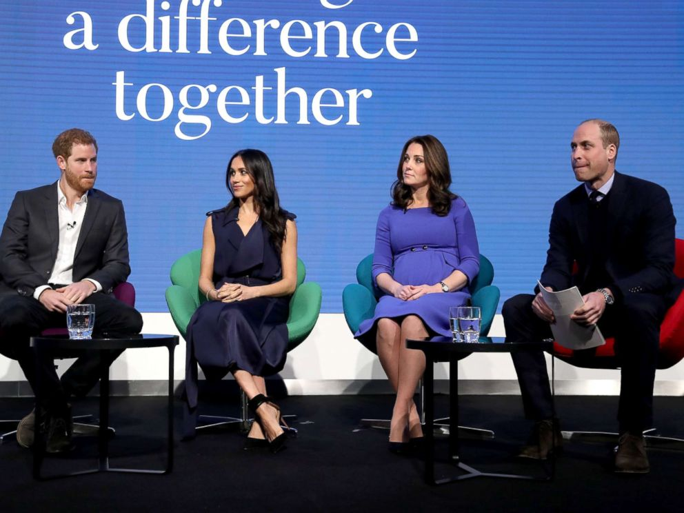 PHOTO: Prince Harry, Meghan Markle, Catherine, Duchess of Cambridge and Prince William, Duke of Cambridge attend the first annual Royal Foundation Forum held at Aviva, Feb. 28, 2018 in London.