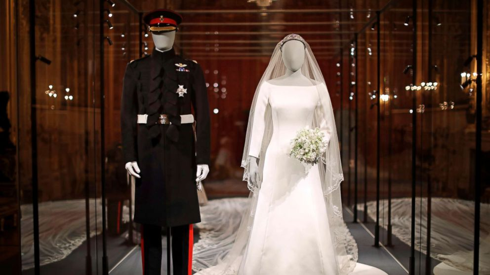 prince harry and meghan markle s wedding outfits go on display abc news meghan and harry s wedding outfits now on display