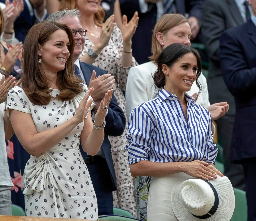 PHOTO: Catherine, Duchess of Cambridge and Meghan, Duchess of Sussex attend the match between Novak Djokovic (SRB) and Rafael Nadal (ESP) on day 12 at All England Lawn and Croquet Club in London, July 14, 2018.