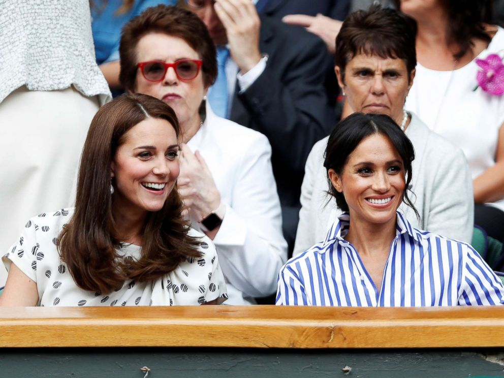 PHOTO: Britains Catherine, Duchess of Cambridge and Meghan, Duchess of Sussex watch Serena Williams of the U.S. play the womens singles final against Germanys Angelique Kerber at All England Lawn Tennis and Croquet Club in London, July 14, 2018.