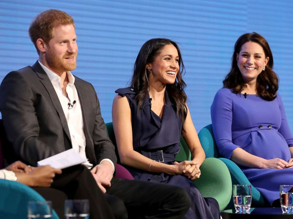 PHOTO: Prince Harry, Meghan Markle and Catherine, Duchess of Cambridge attend the first annual Royal Foundation Forum held at Aviva, Feb. 28, 2018 in London.