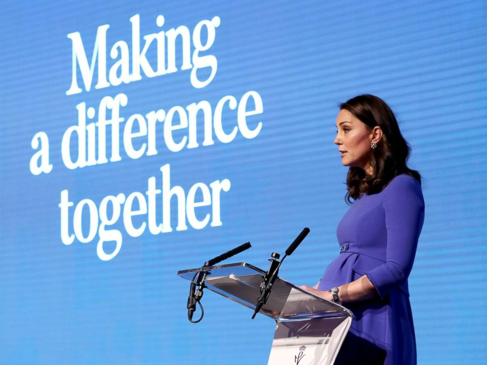 PHOTO: Catherine, Duchess of Cambridge gives a speech as she attends the first annual Royal Foundation Forum held at Aviva, Feb. 28, 2018, in London.