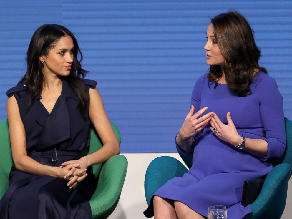PHOTO: Meghan Markle, left, and Britains Catherine Duchess of Cambridge attend the first annual Royal Foundation Forum, Feb. 28, 2018, in London.