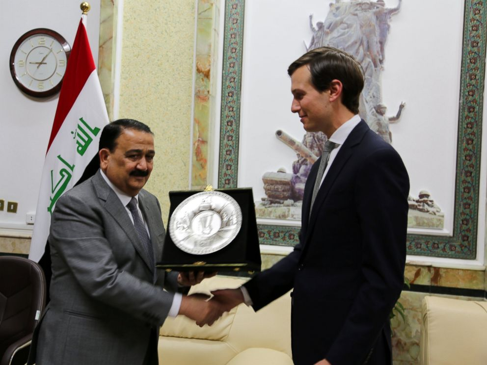 PHOTO: Iraqs Defence Minister Erfan al-Hiyali (L), welcomes U.S. President Donald Trumps son-in-law and senior advisor Jared Kushner in Baghdad, April 3, 2017.
