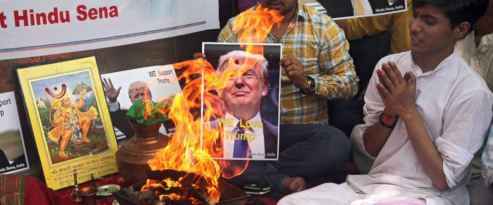PHOTO: Activists from the right-wing organisation Hindu Sena perform Hindu fire rituals in support of US Republicans presidential candidate Donald Trump in New Delhi, India, May 11, 2016.