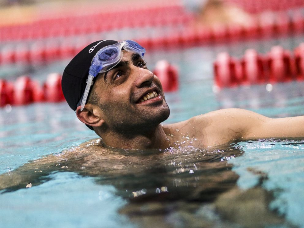 PHOTO: Ibrahim al-Hussein, a 27-year old refugee from Syria, is seen during a swimming training session in this handout photo provided by the United Nations High Commissioner for Refugees, in Athens, April 11, 2016.