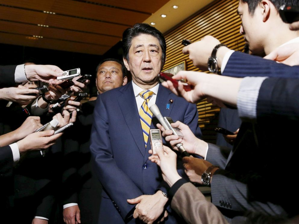 PHOTO: Japans Prime Minister Shinzo Abe speaks to reporters after a meeting of the earthquake emergency disaster response team at his official residence in Tokyo, Japan, April 15, 2016.