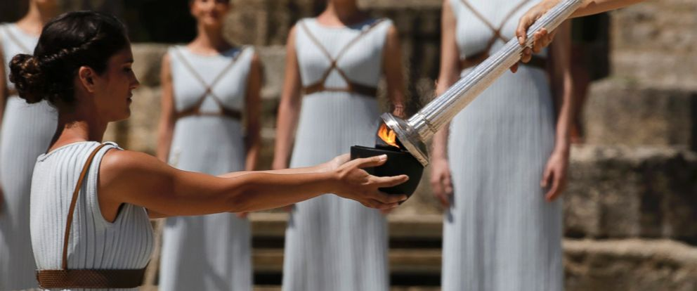 PHOTO: Priestesses attend the Olympic flame lighting ceremony for the Rio 2016 Olympic Games inside the ancient Olympic Stadium on the site of ancient Olympia, Greece, April 21, 2016.