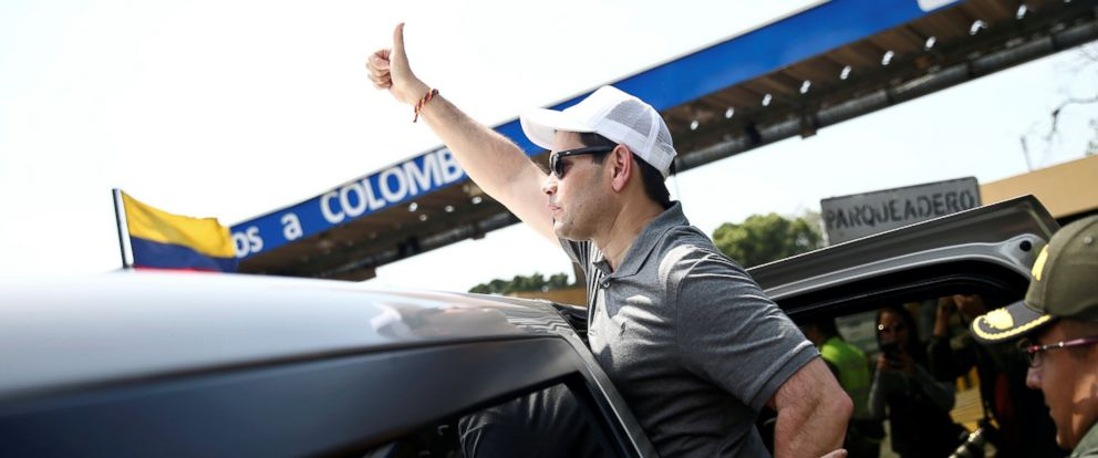 PHOTO: Senator Marco Rubio leaves after visiting the Colombia-Venezuela border at the Simon Bolivar International Bridge on the outskirts of Cucuta, Colombia, Feb. 17, 2019.