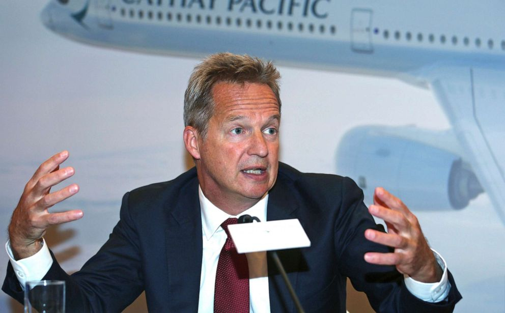 PHOTO: In this Aug. 8, 2018, photo, Cathay Pacific CEO Rupert Hogg attends a news conference in Hong Kong. Hogg resigned Friday, Aug. 16, 2019, following pressure by Beijing over participation by some of its employees in anti-government protests.