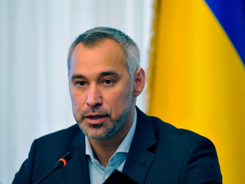 PHOTO: Ukraines prosecutor-general Ruslan Ryaboshapka speaks to reporters during a press conference in Kyiv, Oct. 4, 2019.