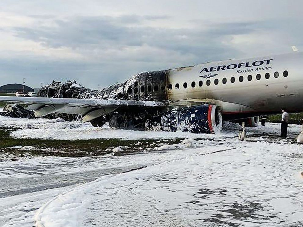 online retailer ca242 a186a PHOTO  The scene of a crash of a Russian Airlines plane at Sheremetyevo  airport outside