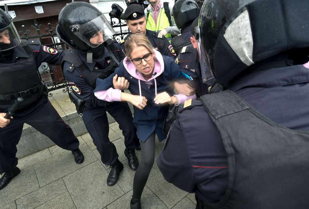 PHOTO: Police officers detain an opposition candidate Lyubov Sobol during a demonstration in Moscow, Aug. 3, 2019.