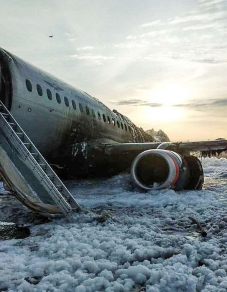 PHOTO: The scene of a crash of a Russian Airlines plane at Sheremetyevo airport outside of Moscow, May 5, 2019.