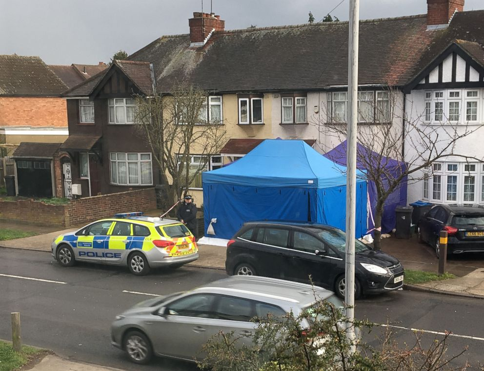 PHOTO: Police activity outside the home of Nikolai Glushkov in New Malden, Britain, March 13, 2018. Police are investigating the unexplained death of Russian businessman Nikolai Glushkov, who is associated with a prominent critic of the Kremlin.