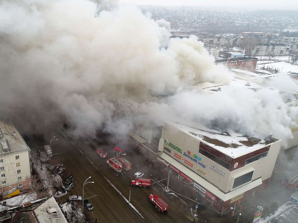 PHOTO: Smoke rises above a multi-story shopping center in the Siberian city of Kemerovo, Russia, March 25, 2018.