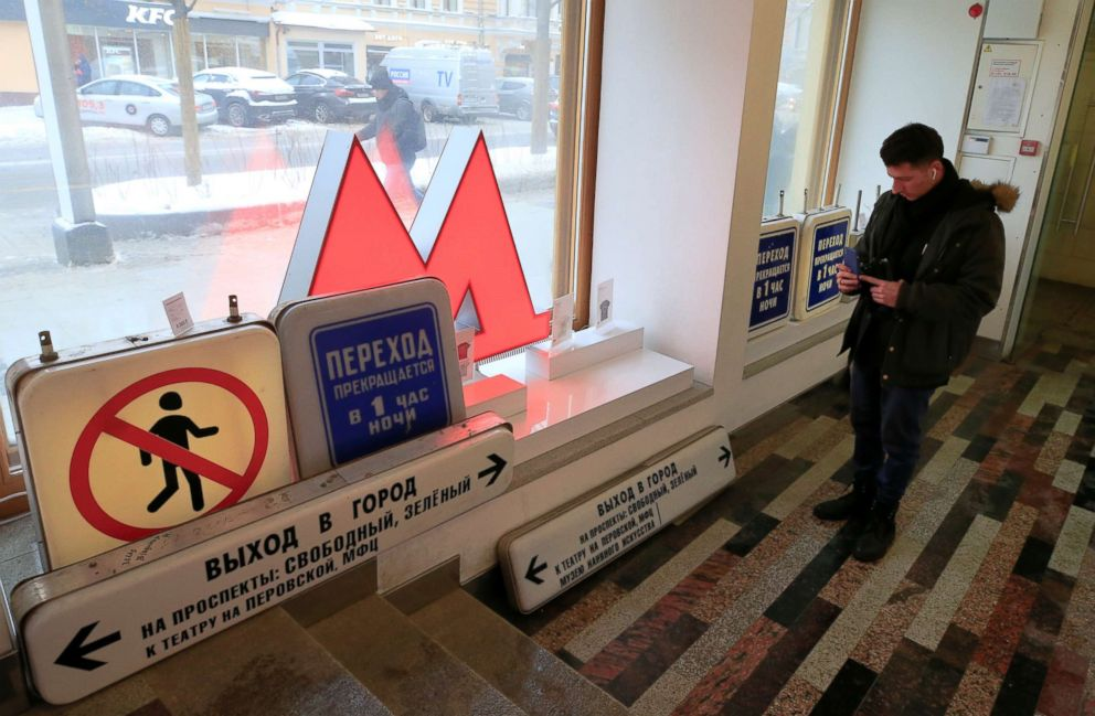 PHOTO: Retro signboards are on display after the Moscow metro launched sales of decommissioned passenger signs at a gift shop in Moscow, Dec. 25, 2018.