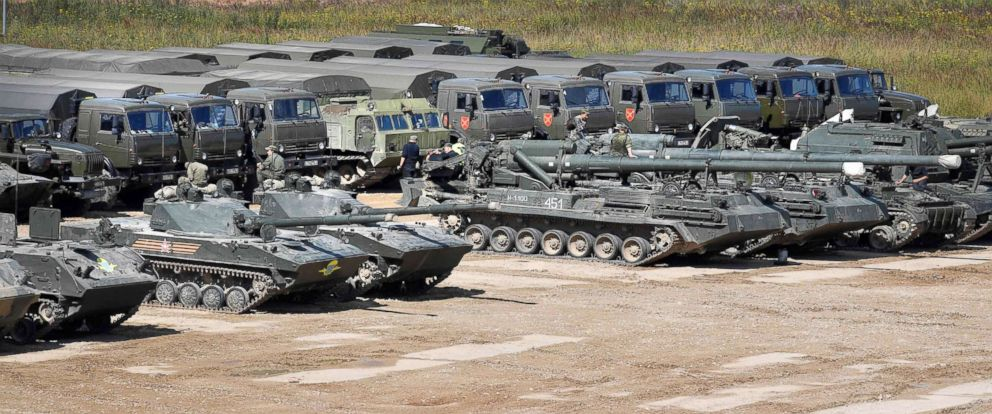 PHOTO: Russian servicemen prepare their armoured vehicles at the Kubinka Patriot Park outside of Moscow, Aug. 15, 2017, ahead of The International Military-Technical Forum Army-2017.