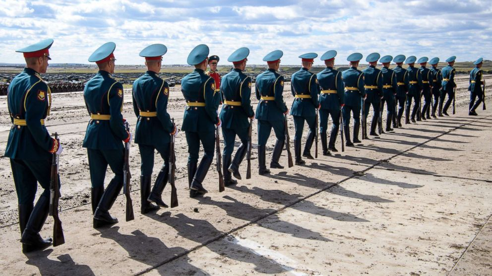 Russian honor guards are seen during the Vostok-2018 military drills at Tsugol training ground not far from the borders with China and Mongolia in Siberia, Sept. 13, 2018.