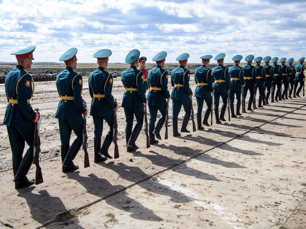 PHOTO: Russian honor guards are seen during the Vostok-2018 military drills at Tsugol training ground not far from the borders with China and Mongolia in Siberia, Sept. 13, 2018.
