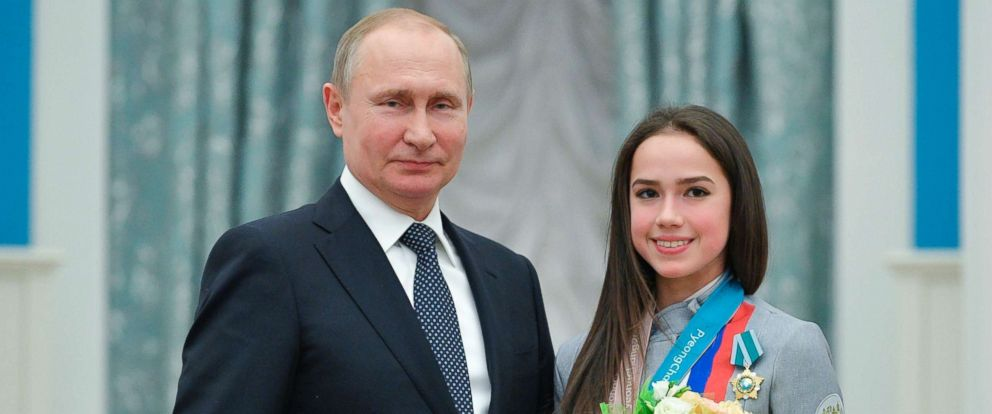 PHOTO: Russian President Vladimir Putin, and Alina Zagitova, gold medalist in the womens figure skating of the 2018 Pyeongchang Winter Olympic Games, during an award ceremony at the Kremlin in Moscow, Feb. 28, 2018.