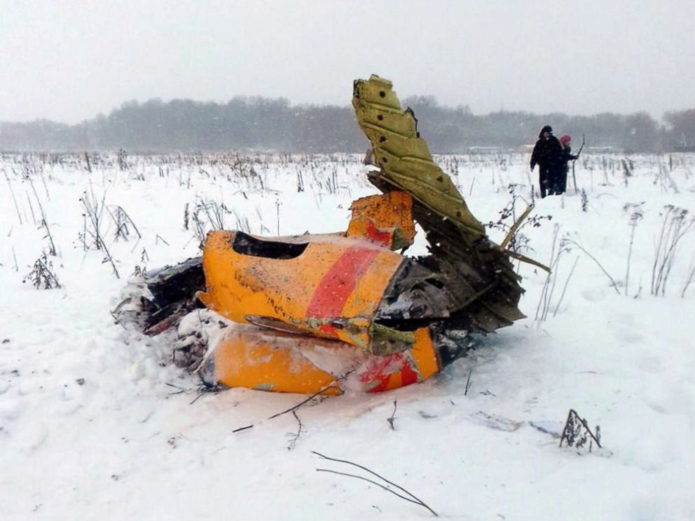 PHOTO: Debris of the crashed Russian Saratov Airlines passenger plane lies in the snow near the Stepanovskoy village near Argunovo, Ramensky district, Moscow region, Russia, Feb. 11, 2018.