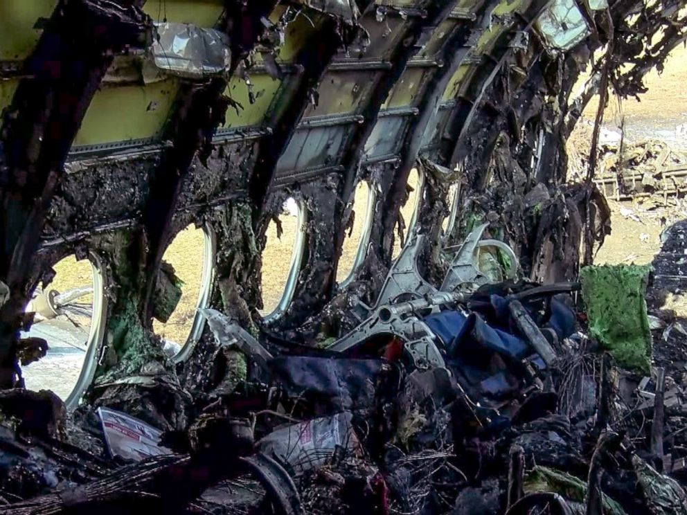 PHOTO: The remains of the destroyed fuselage of a Russian-made Superjet-100 at Sheremetyevo airport outside Moscow following a deadly fire and an emergency landing on May 5, 2019.