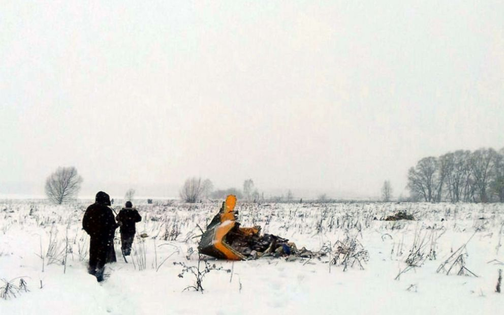 PHOTO: Debris of the crashed Russian Saratov Airlines Antonov AN-148 passenger plane lies in the snow near the Stepanovskoy village near Argunovo, Ramensky district, Moscow region, Russia, Feb. 11, 2018.