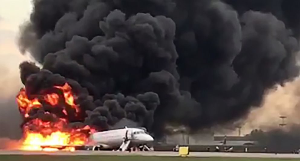 PHOTO: Fire engulfs a Russian-made Superjet-100 at Sheremetyevo airport outside Moscow, May 5, 2019.