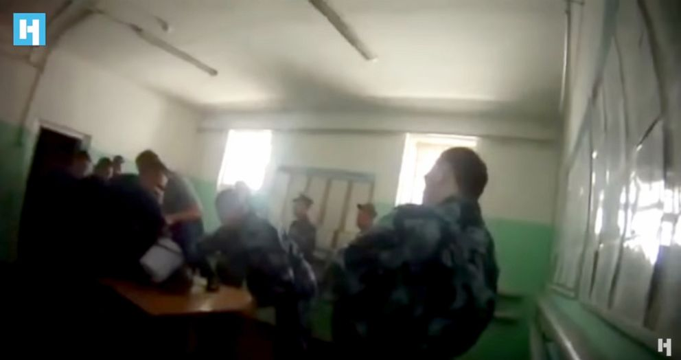 PHOTO: Guards at the Yaroslavl penal colony are seen torturing an inmate, Yevgeny Makarov, in June 2017, in this body cam footage.