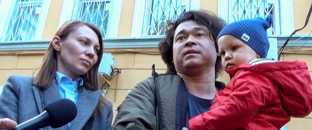 PHOTO: This video grab provided by TV Rain on Tuesday, Aug. 6, 2019, shows Dmitri and Olga Prokazov, parents of a 1-year-old boy speaking to journalists in Moscow, Russia.