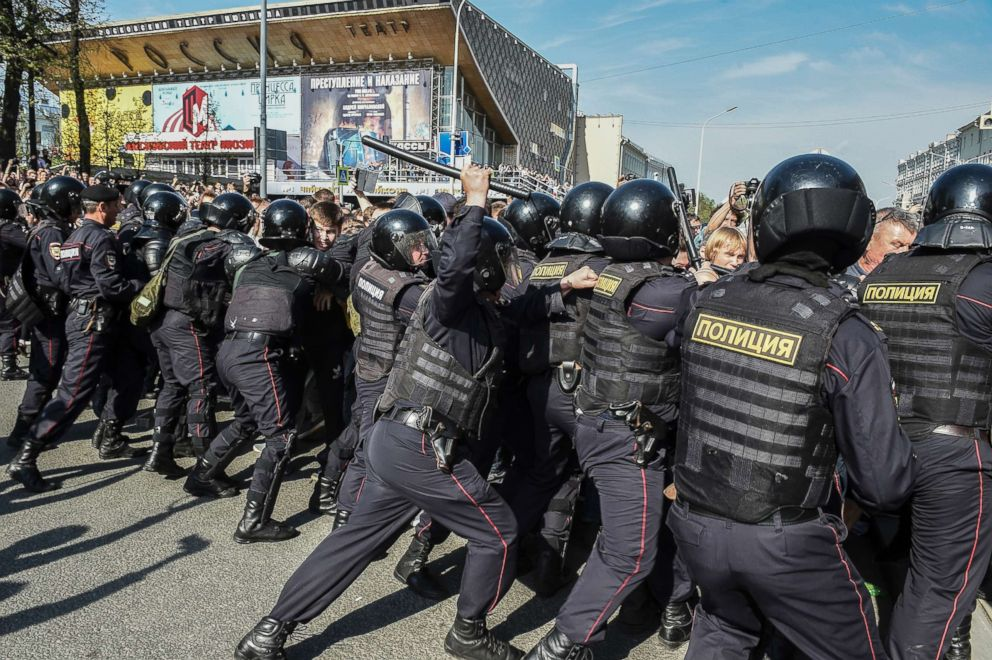 PHOTO: Russian police push protesters back during a demonstration against President Vladimir Putin in Pushkin Square in Moscow, Russia, May 5, 2018.