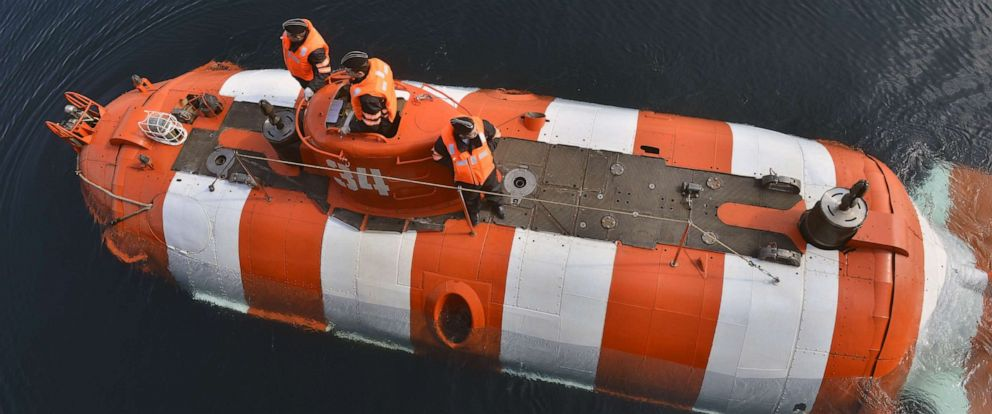PHOTO: A deep-submergence rescue vehicle involved in submarine rescue operation exercises held by the Russian Northern Fleet in the Barents Sea, June 8, 2019.