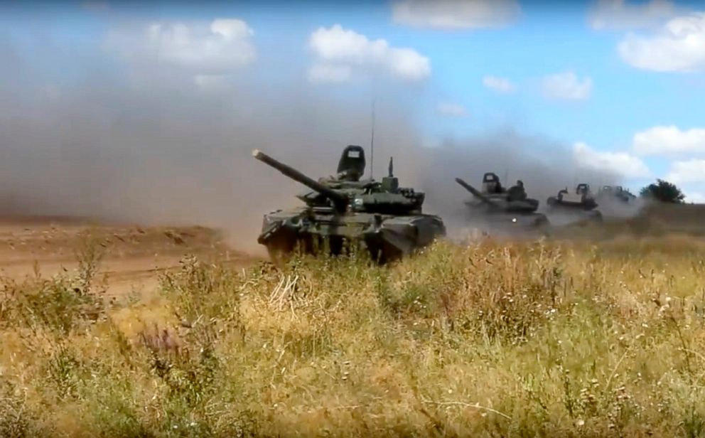 PHOTO: Tanks roll during the military exercises in Chita, Eastern Siberia, during the Vostok 2018 exercises, Sept. 11, 2018.