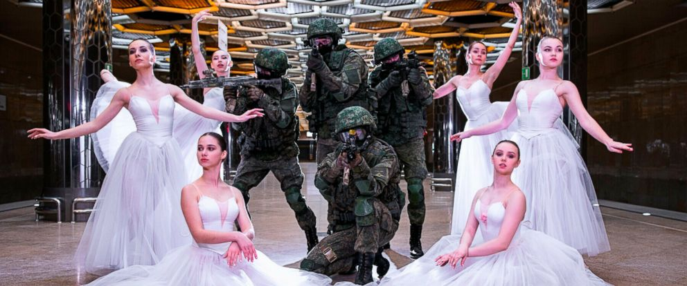 PHOTO: Soldiers and ballerinas pose for pictures during a photoshoot in Yekaterinburg, Russia, to mark International Womens Day.