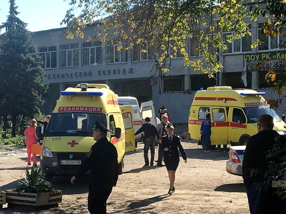 PHOTO: The site of an explosion at a college in the Crimean city of Kerch, Oct. 17, 2018.