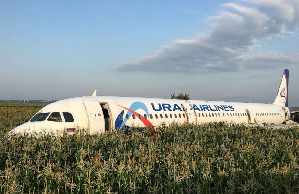 PHOTO: The Ural Airlines Airbus 321 passenger plane made an emergency landing in a field near Zhukovsky International Airport near Moscow on Aug. 15, 2019.