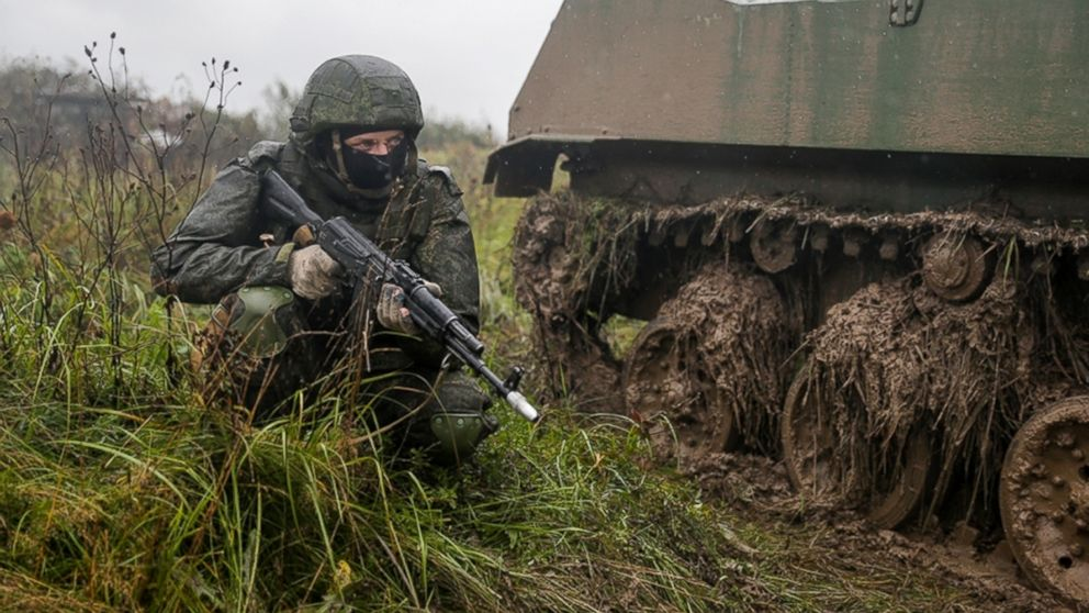 A Russian serviceman attends a military exercise at a training ground near Kaliningrad, Russia, Sept. 18, 2017. The Zapad (West) 2017 maneuvers have caused concern among some NATO members neighboring Russia, who have criticized a lack of transparency about the exercises and questioned Moscow's real intentions.