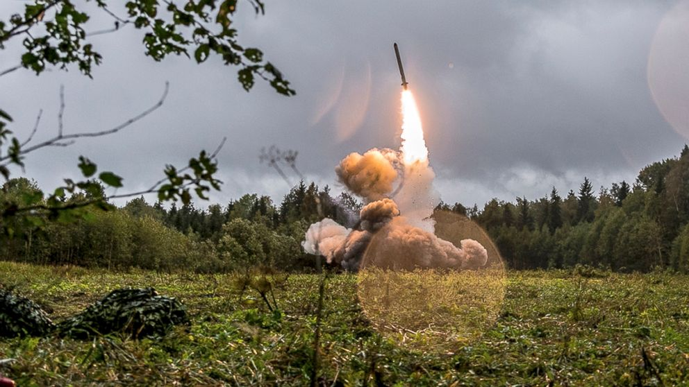 A Russian Iskander-K missile is launched during a military exercise at a training ground at the Luzhsky Range, near St. Petersburg, Russia, Sept. 18, 2017. The Zapad (West) 2017 maneuvers have caused concern among some NATO members neighboring Russia, who have criticized a lack of transparency about the exercises and questioned Moscow's real intentions.