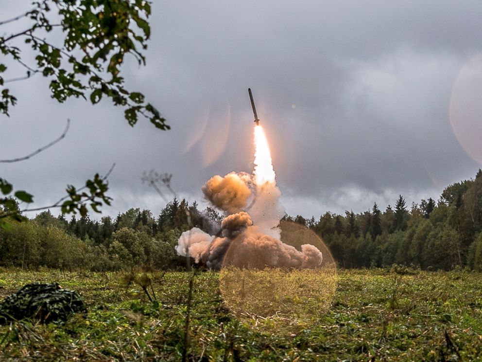 PHOTO: A Russian Iskander-K missile is launched during a military exercise at a training ground at the Luzhsky Range, near St. Petersburg, Russia, Sept. 18, 2017.