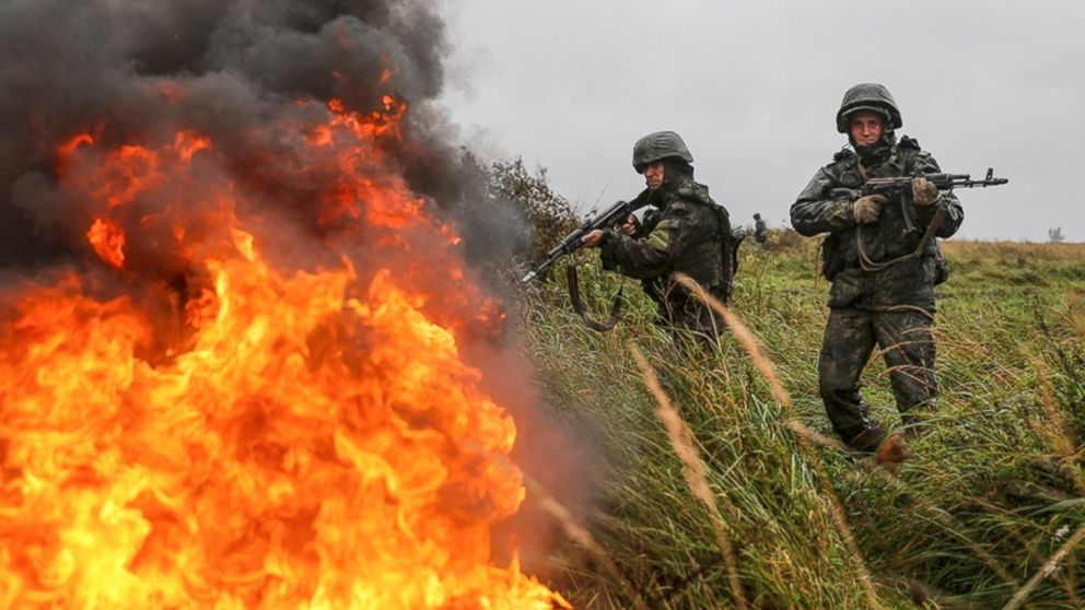 Russian troops during a military exercise at a training ground near Kaliningrad, Russia, Monday, Sept. 18, 2017. The Zapad (West) 2017 maneuvers have caused concern among some NATO members neighboring Russia, who have criticized a lack of transparency about the exercises and questioned Moscow's real intentions.
