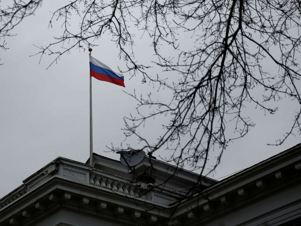 PHOTO: A Russian flag flies atop the Consulate General of the Russian Federation in Seattle, March 26, 2018.