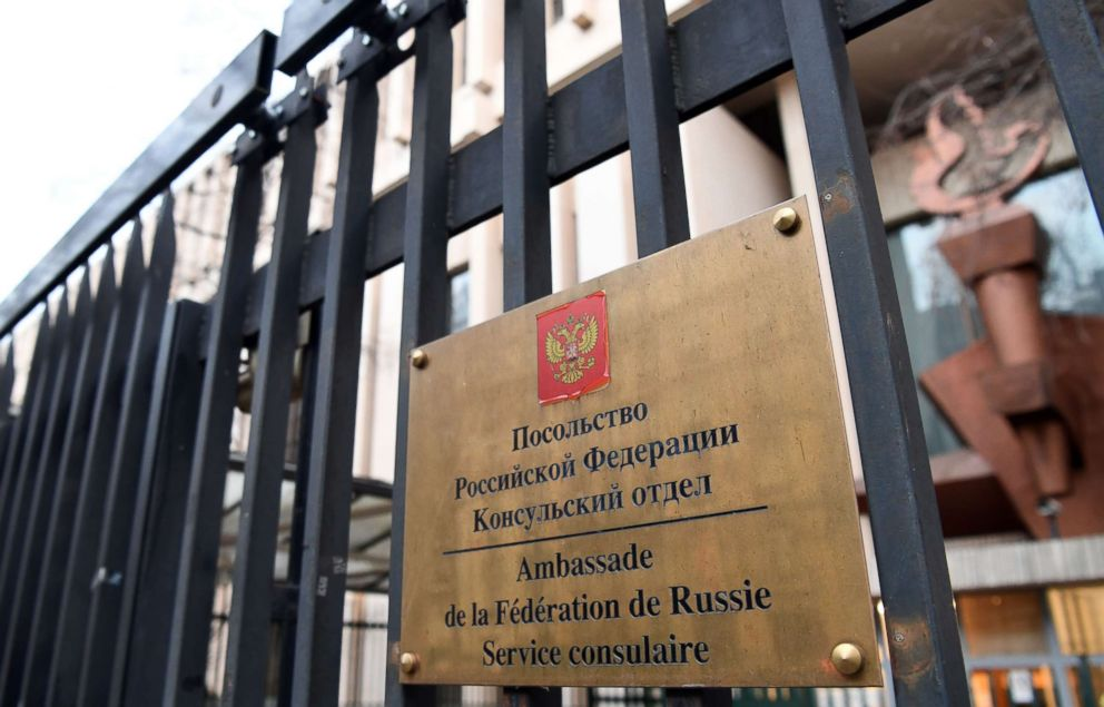 PHOTO: A plaque at the embassy of the Russian Federation in Paris, Feb. 14, 2017.
