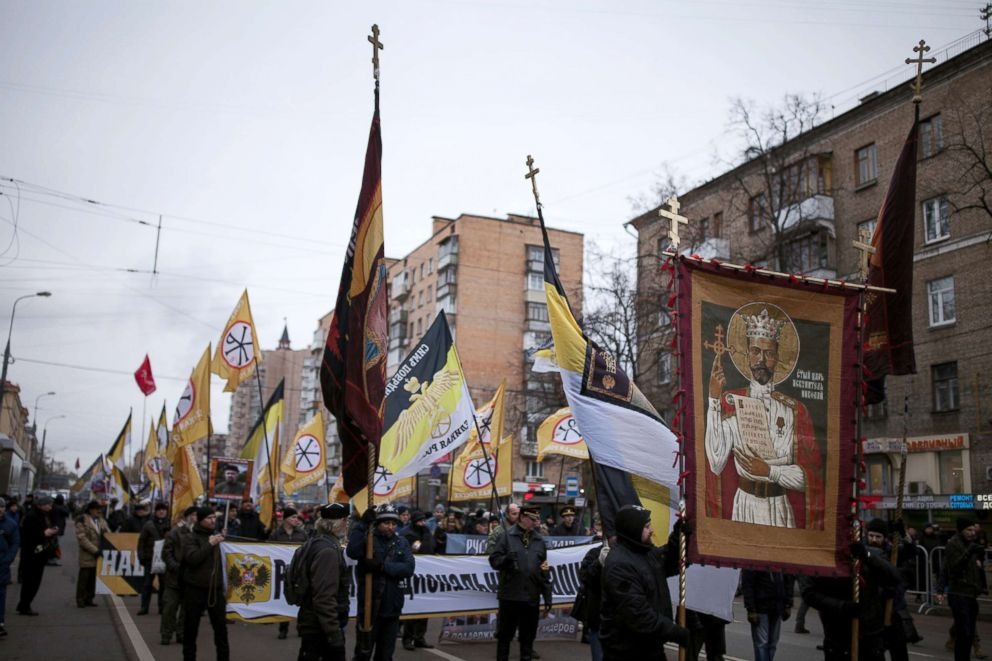PHOTO: Members of the Union of Orthodox Banner-Bearers attend a march of the Unity of Nation in Oktyabrskoye Polye, Moscow, Russia, Nov. 4, 2017.