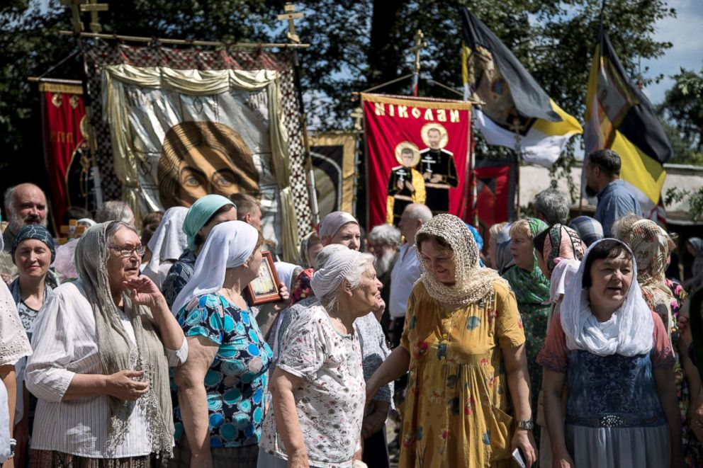 PHOTO: Local churchgoers attend a procession organised by the Union of Orthodox Banner-Bearers to commemorate 100 years since the killing of Tsar Nicholas II, in Spaso-Andronikov Monastery in Moscow, July 17, 2018.
