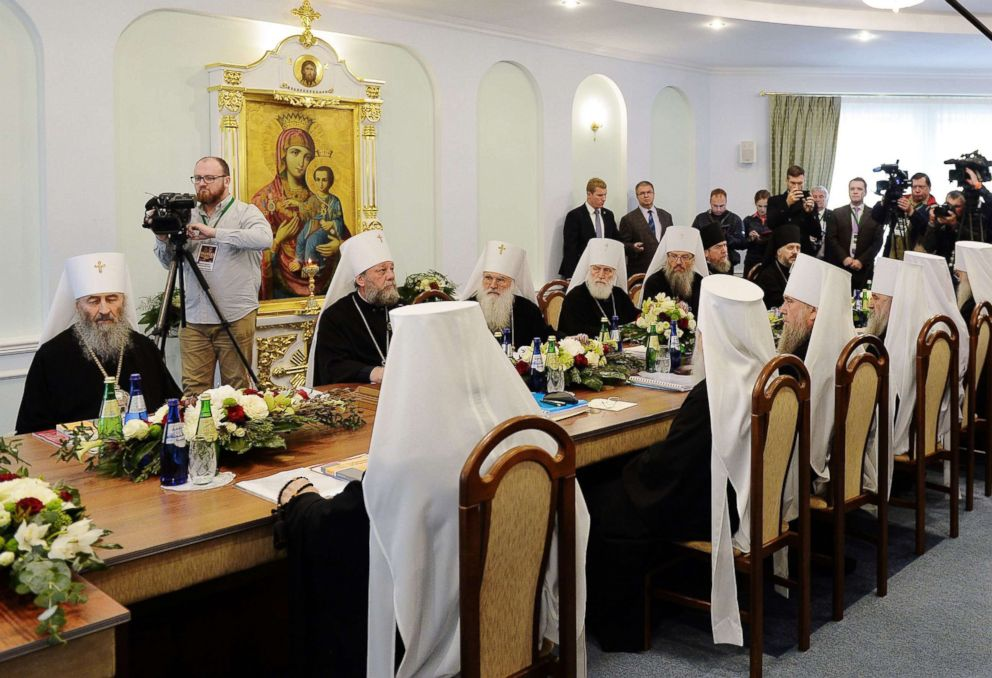 PHOTO: A handout picture distributed by the Moscow Patriarchate press service shows a meeting of the Holy Synod of Russian Orthodox Church in Minsk on Oct. 15, 2018.