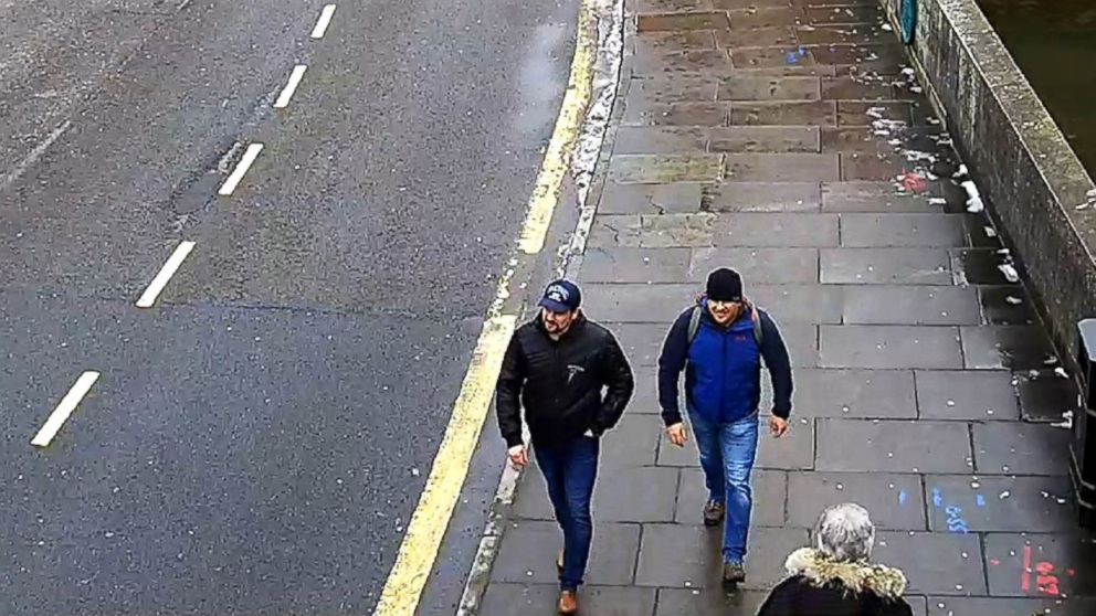 A surveillance image shows both suspects on Fisherton Road, Salisbury, at 1:05 p.m. on March 4, 2018.