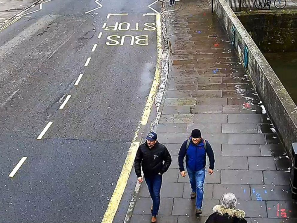 PHOTO: A surveillance image shows both suspects on Fisherton Road, Salisbury, at 1:05 p.m. on March 4, 2018.
