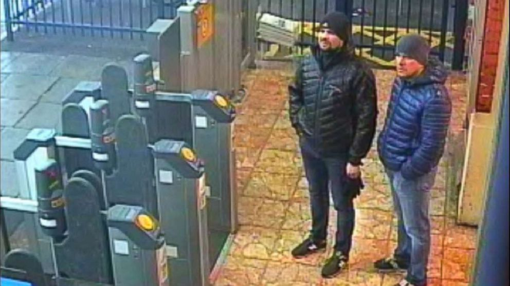A surveillance image shows both suspects at Salisbury train station at 4:11 p.m. on March 3, 2018.
